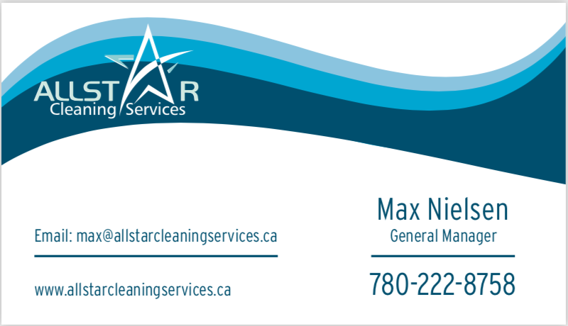 Max Nielsen Business Card   Allstar Cleaning Services